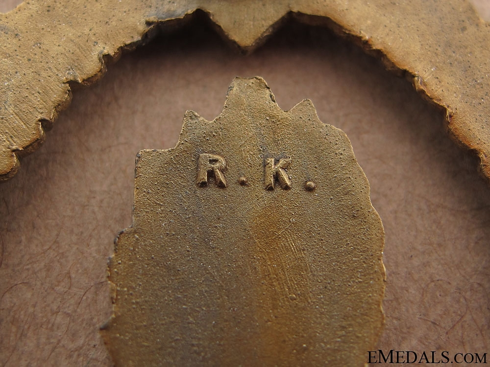 Minesweeper War Badge - Zinc marked R.K.