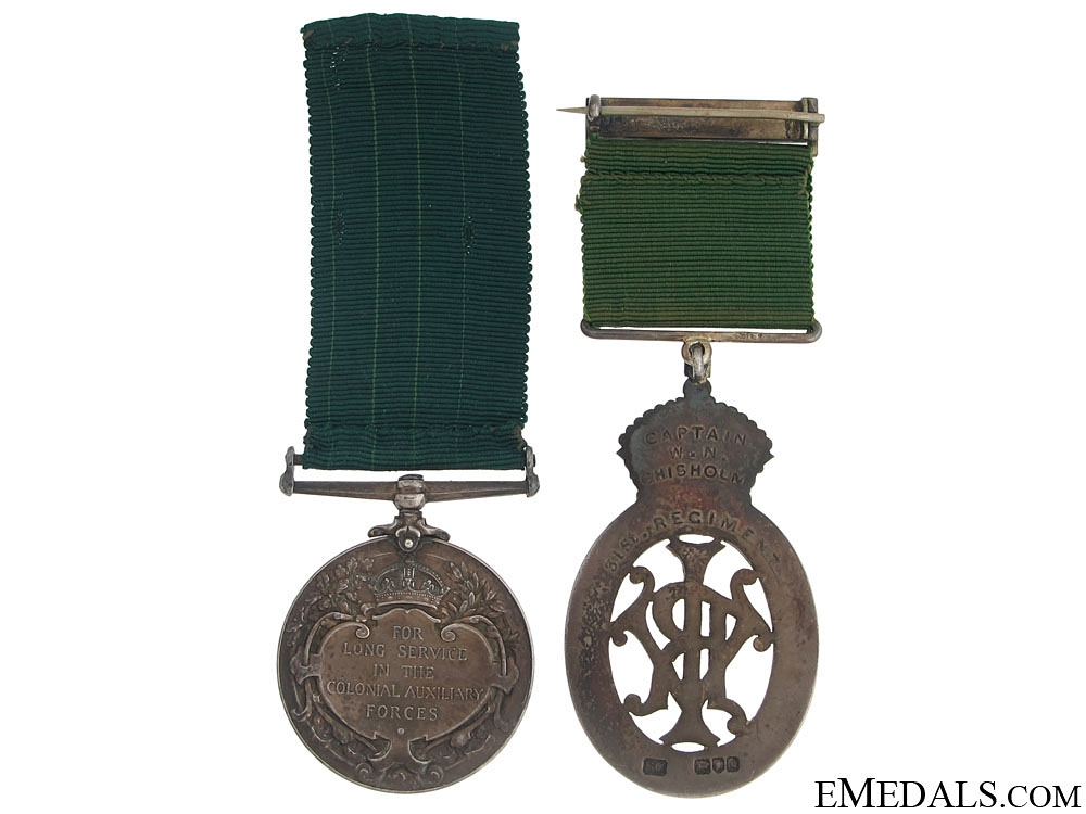 Colonial Auxiliary Forces Long Service Pair