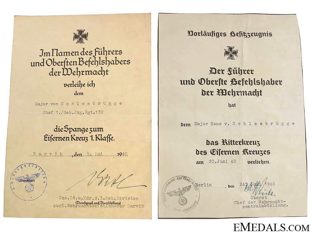 Rare Documents for KC Winner at Narvik