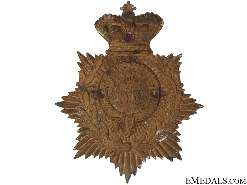A Victorian 40th Infantry Helmet Plate c.1880