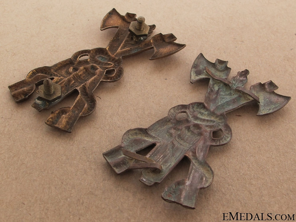 Two Mussolini Period Fireman's Hat Badges