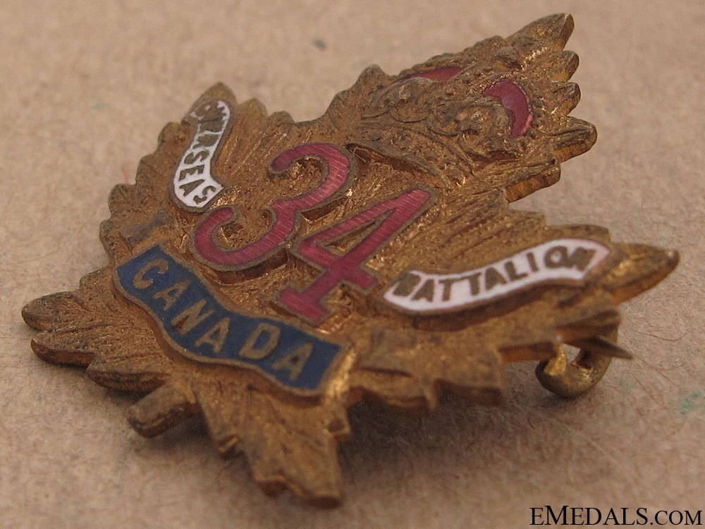 WWI 34th Infantry Battalion Sweetheart Pin