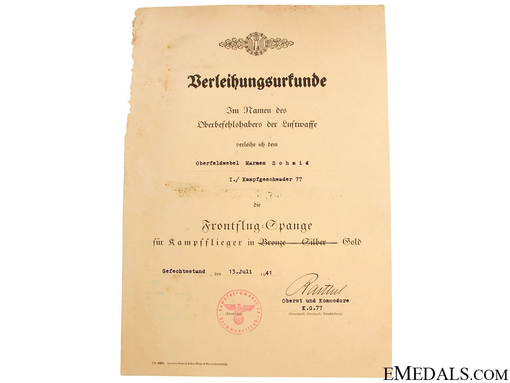 A Comprehensive Group to Oberfeldwebel Schmid