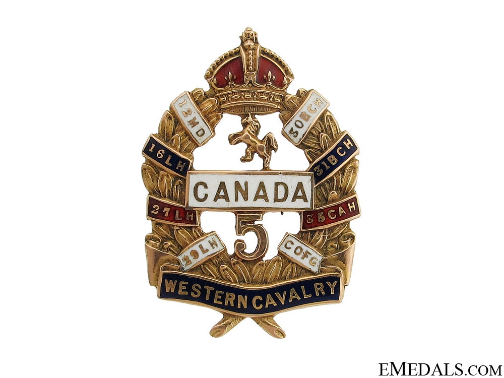 5th Western Cavalry Gold Badge