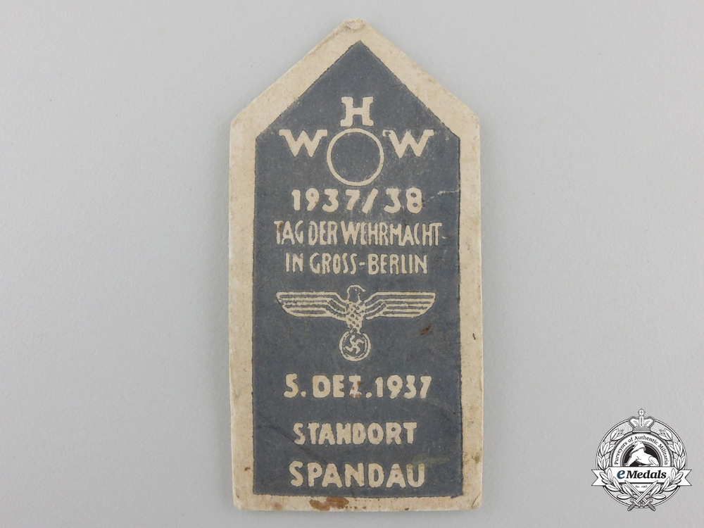 A 1937 Greater Berlin Wehrmacht Day Meeting at Spandau Badge