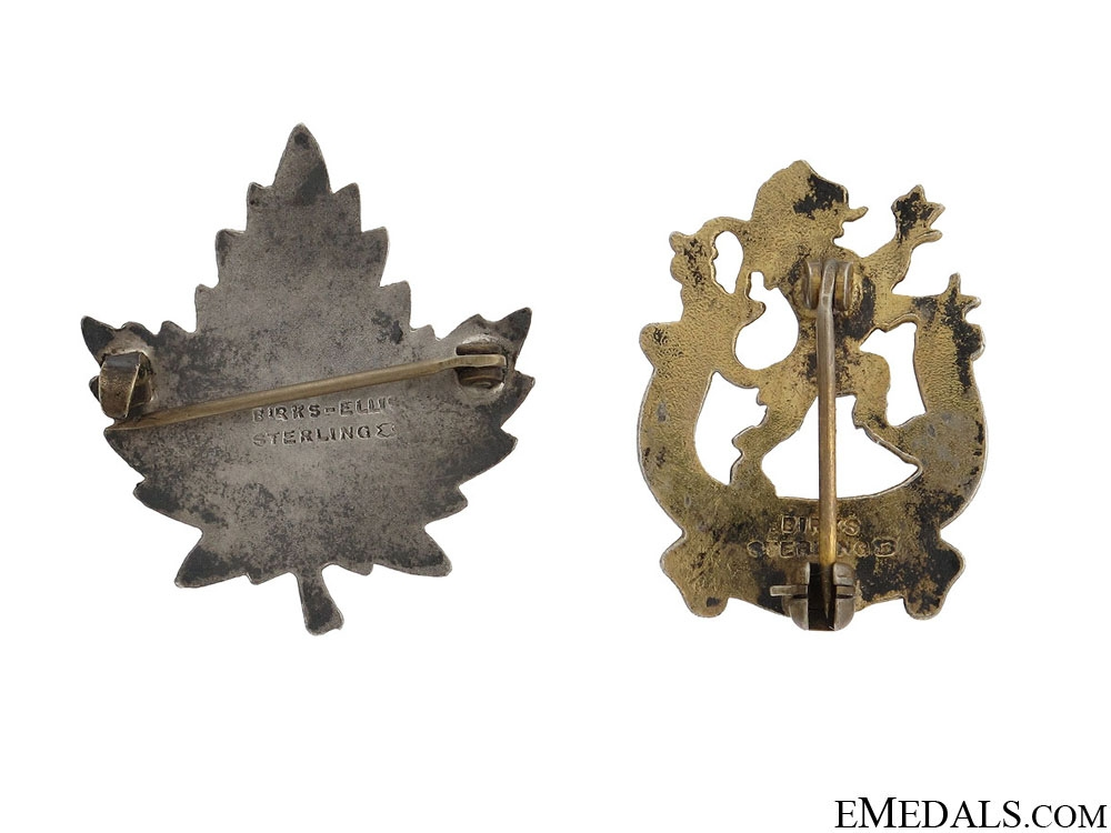 WWII Two Veterans Guard of Canada Pins by Birks