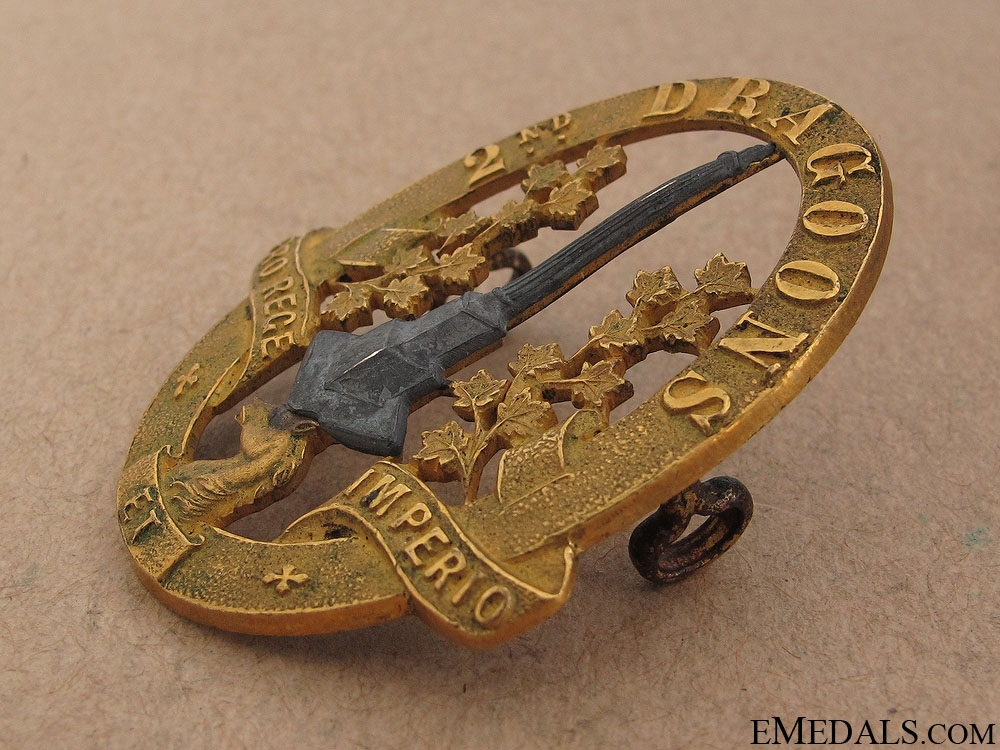 WWII Second Dragoons Officer Cap Badge
