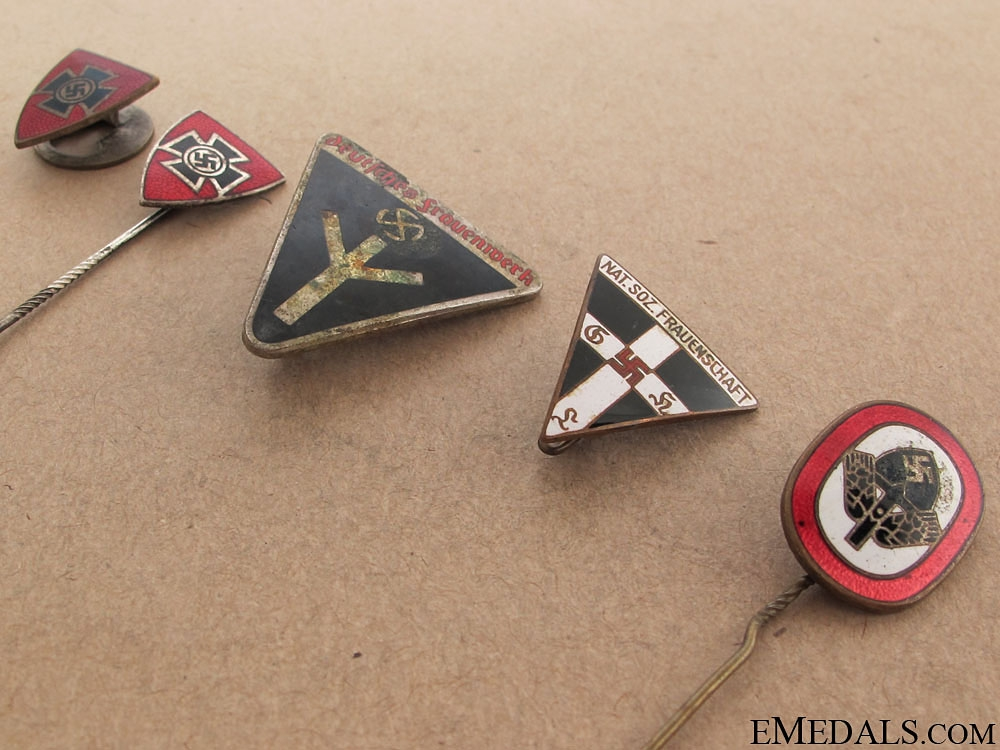 Five Third Reich Period Enameled Badges