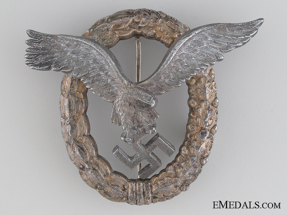 Combined Pilot-Observer Badge, Zinc, Marked