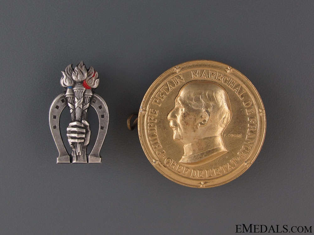 Two French Vichy Badges