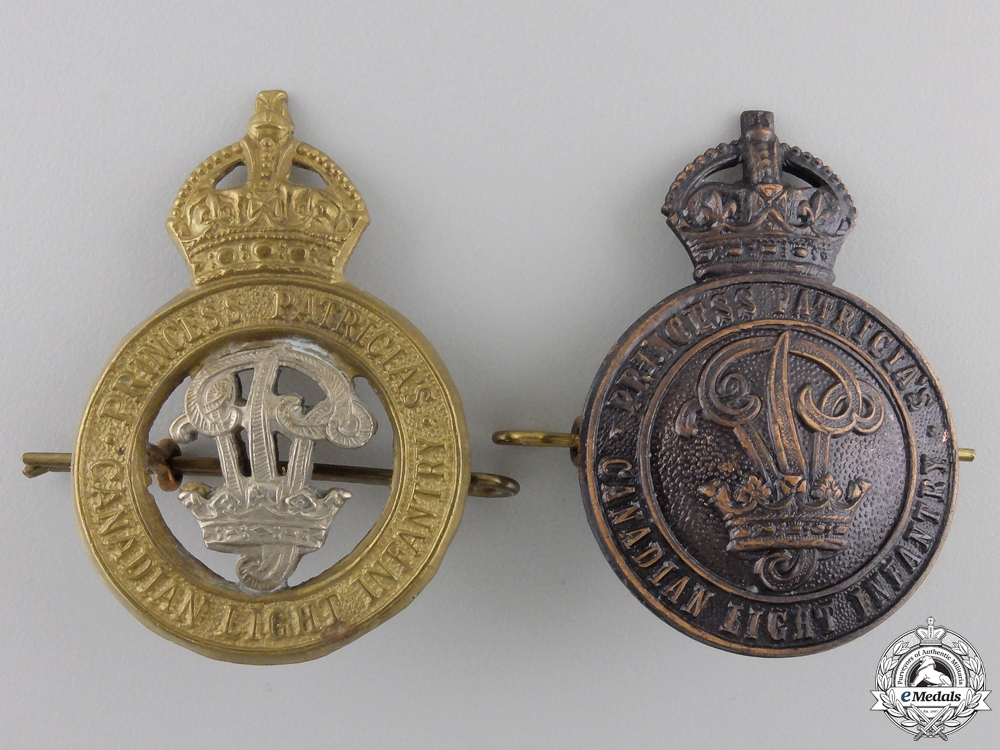 Two WWII Princess Patricia's Canadian Light Infantry Cap Badges