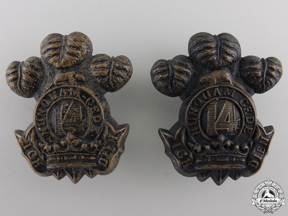 A 14th Regiment Militia Princes of Wales' Own Regiment Collar Badge Pair