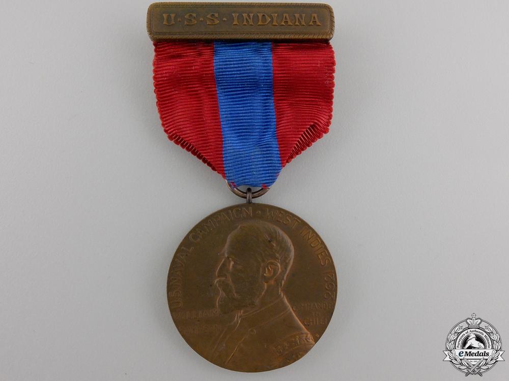 A 1898 Naval West Indies Campaign Medal to USS Indiana