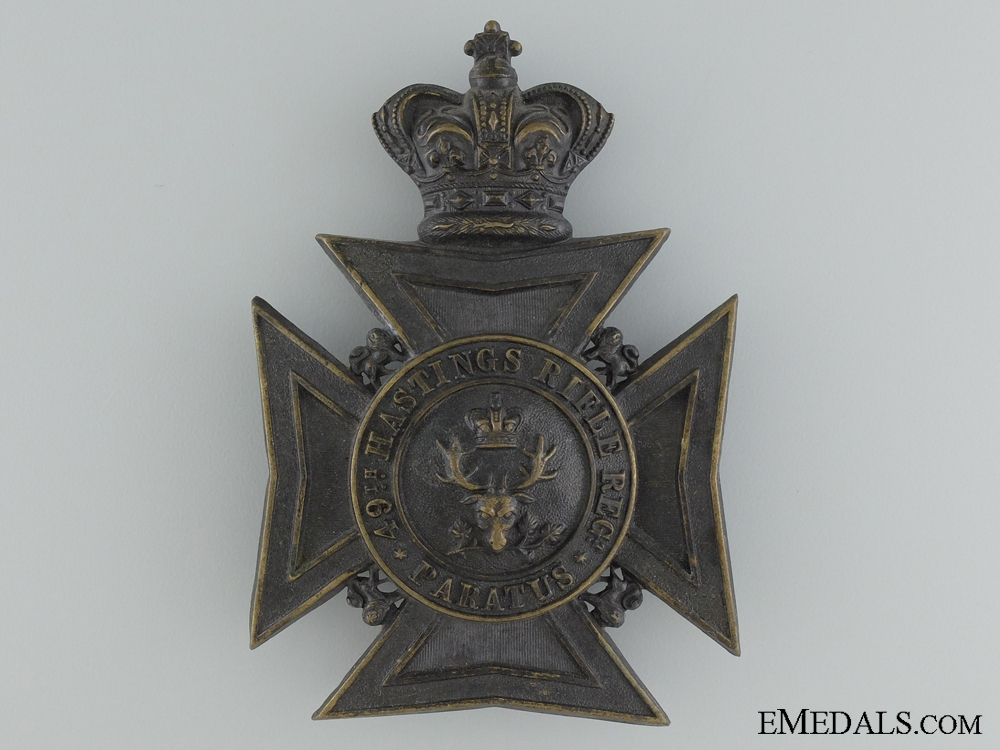 A 49th Hastings Battalion of Rifles Victorian Helmet Plate