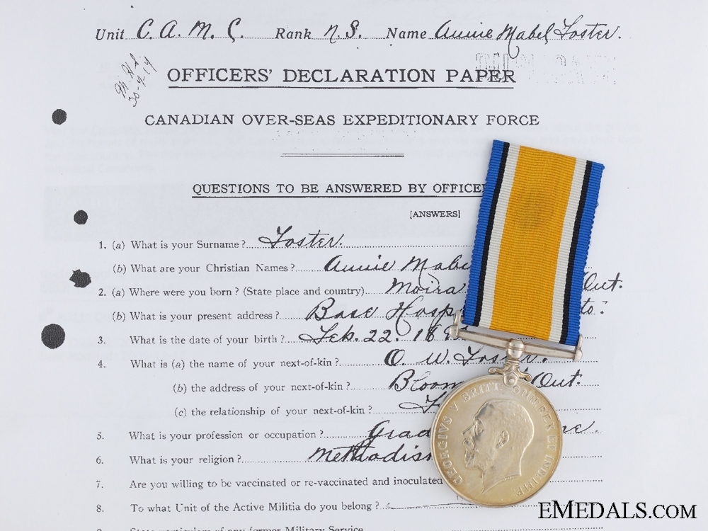 A British War Medal 1914-18 to Nursing Sister Foster; C.A.M.C.