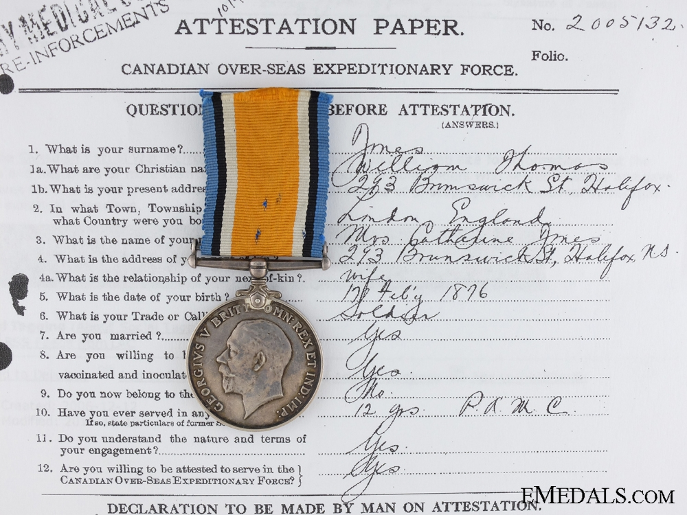 A British War Medal to the Canadian Army Medical Corps CEF