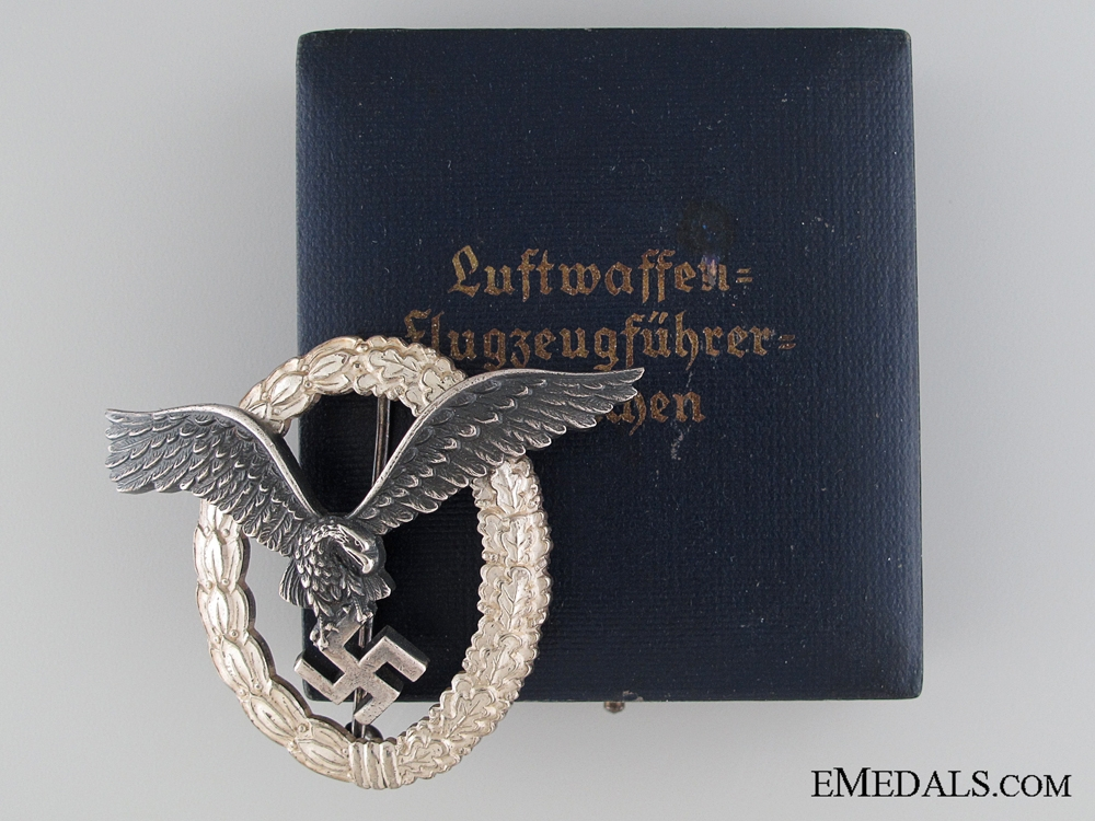 A Cased Pilot's Badge by B & N L