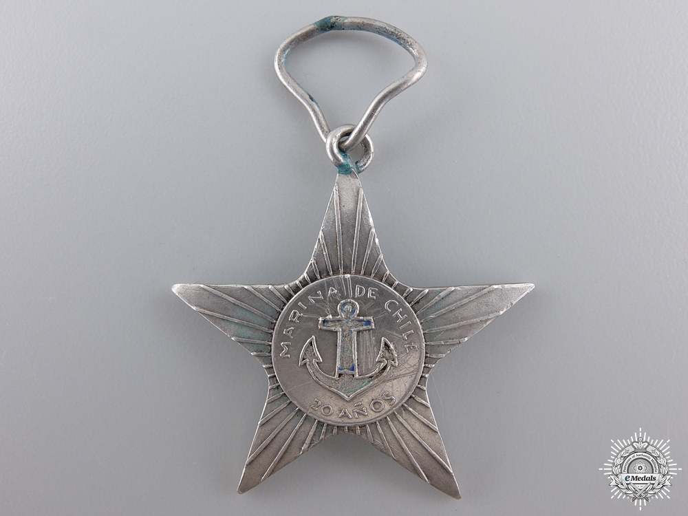 A Chilean Navy Twenty Years' Long Service Medal