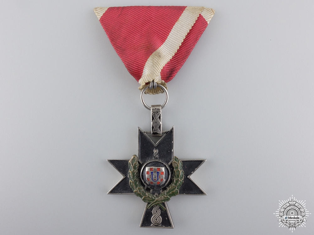 A Croatian Order of Iron Trefoil 3rd Class with Oak Leaves