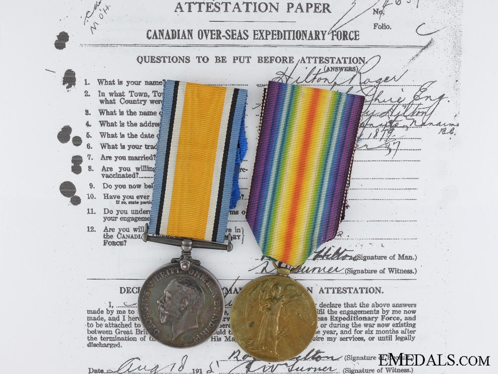 A First War Canadian Pair to the 17th  Infantry Battalion CEF
