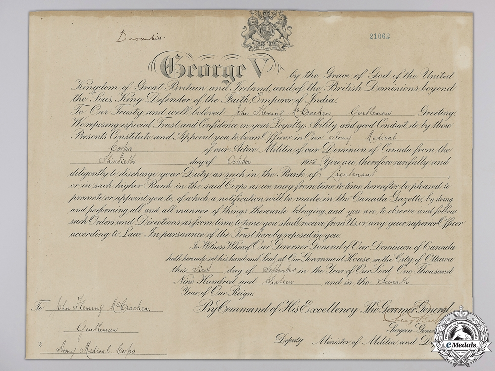A First War Commission Document to the Canadian Army Medical Corps
