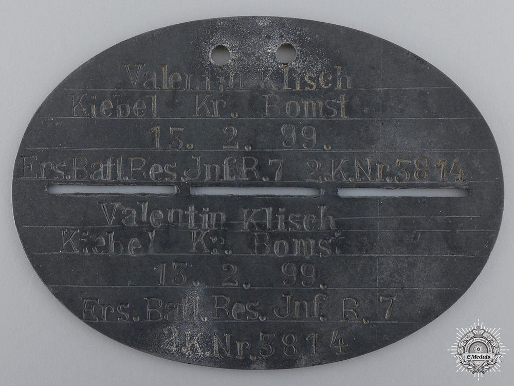 A First War Army Identification Disc