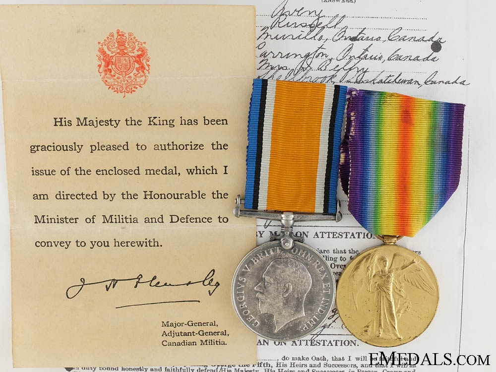 A First War Medal Pair to the Canadian Railway Troops CEF