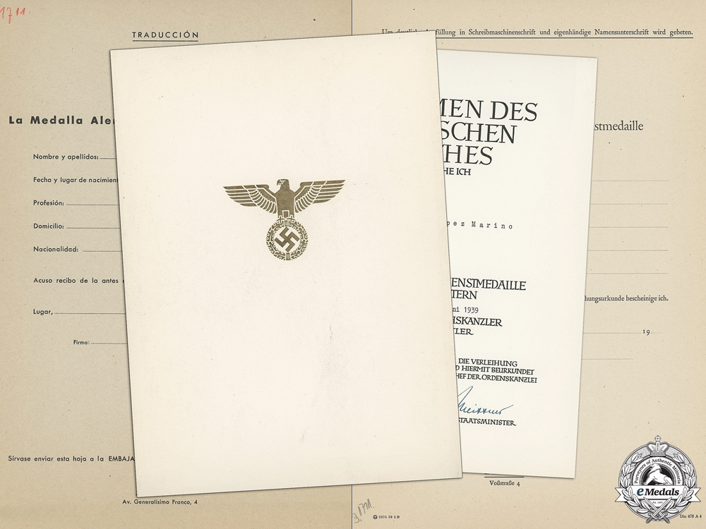 A German Eagle Order Award Document & Paperwork to Spanish Recipient