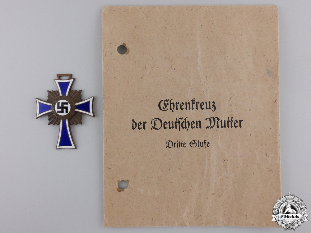 A German Mother's Cross; Bronze Grade with Packet