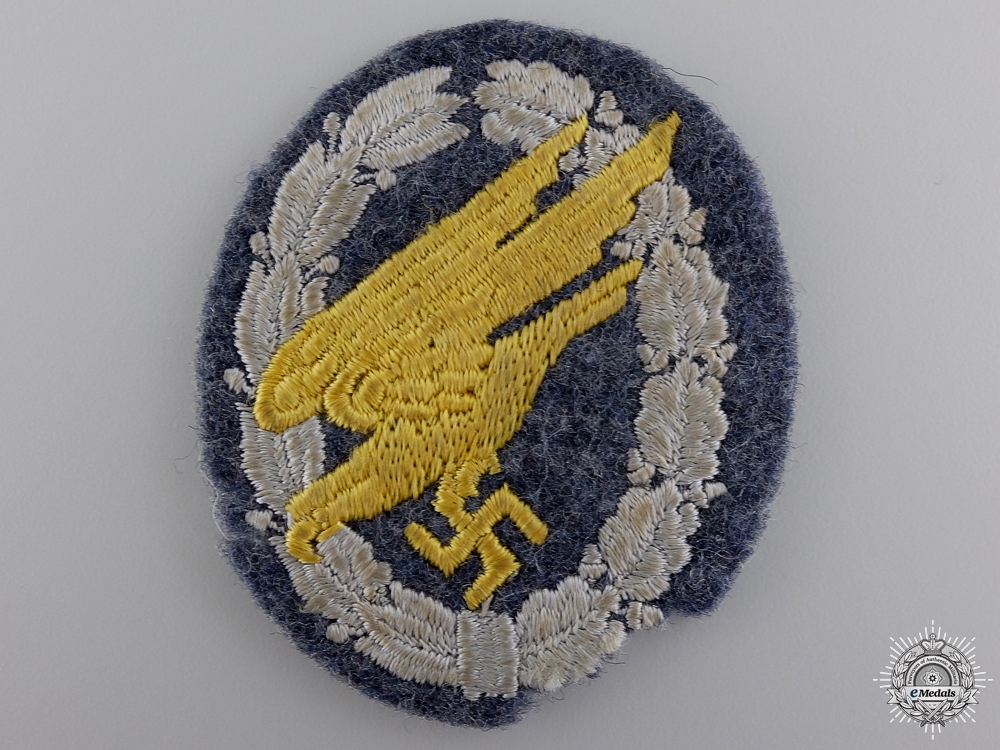 A Luftwaffe Fallschirmjäger Badge; Cloth Version