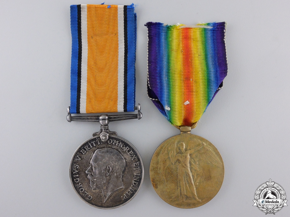 A Medal Pair to the 19th Infantry; Wounded During Pursuit to Mons