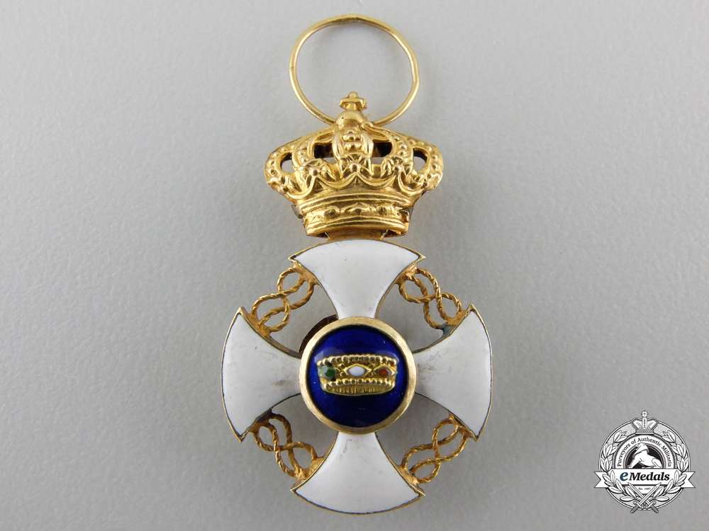 A Miniature Order of the Crown of Italy in Gold
