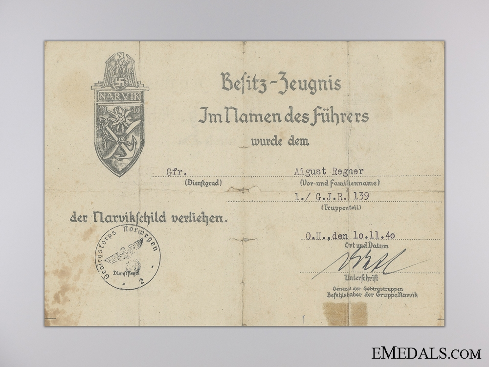 A Narvik Shield Certificate to the 139th Mountain Regiment