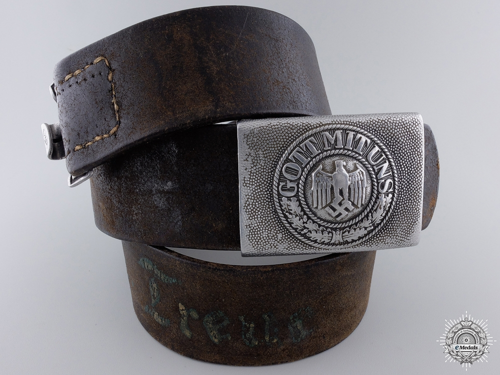 A Personalized Second War Army Belt & Buckle by Friedrich Linden