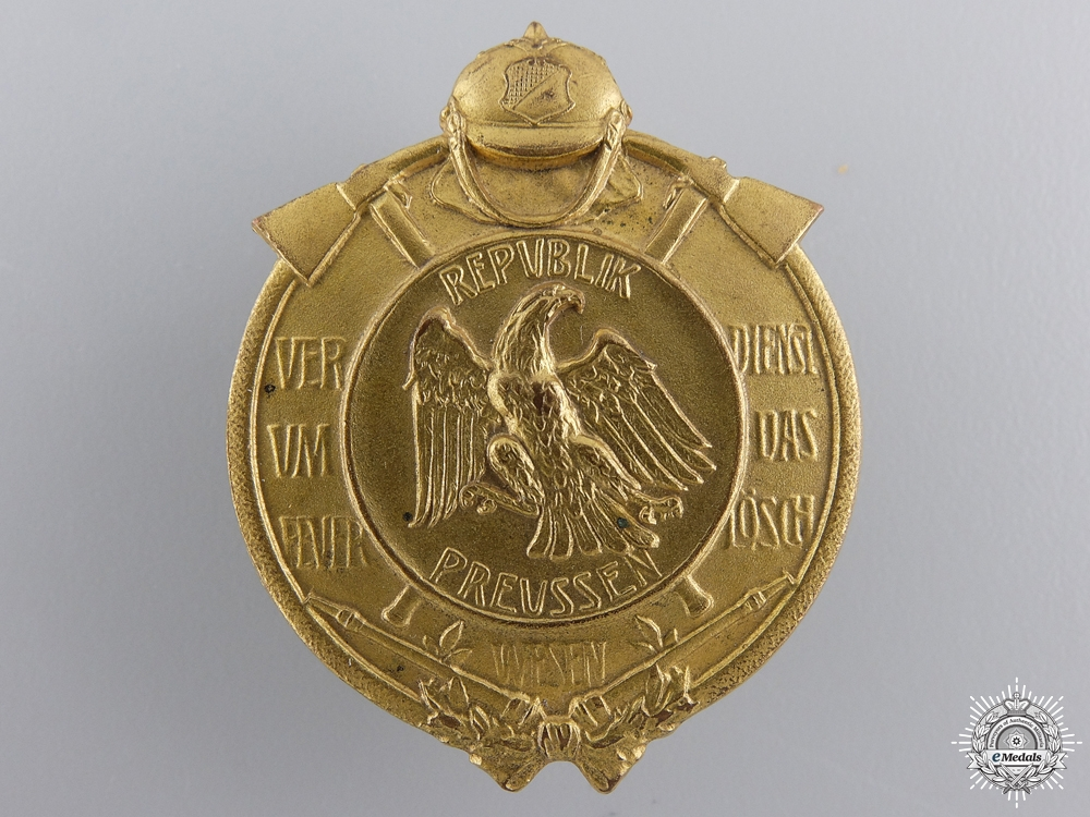 A Republic of Prussia Decoration for Merit in the Fire Service