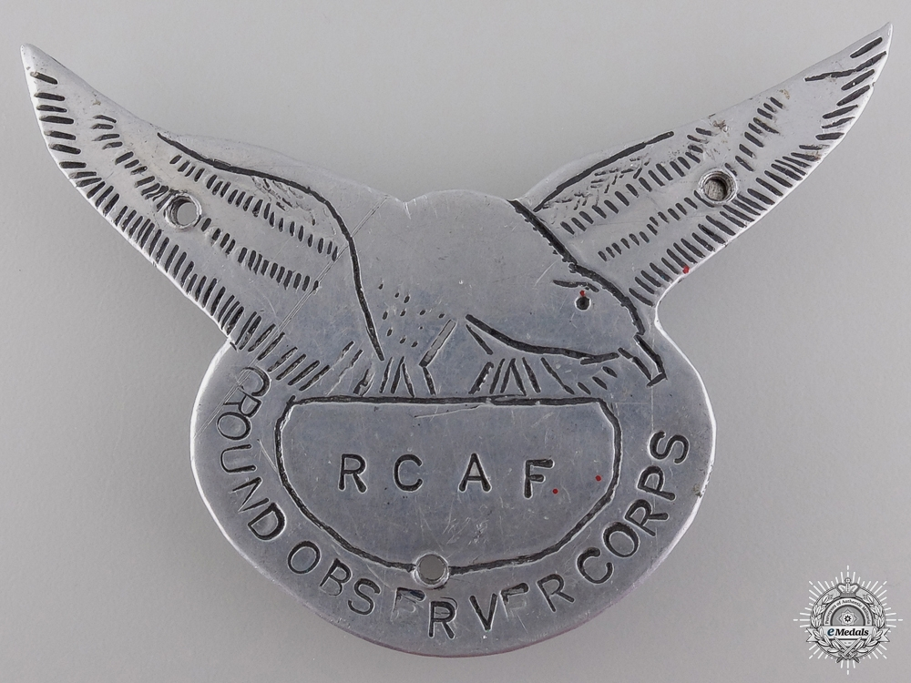 A Royal Canadian Air Force (RCAF) Ground Observer Corps Badge