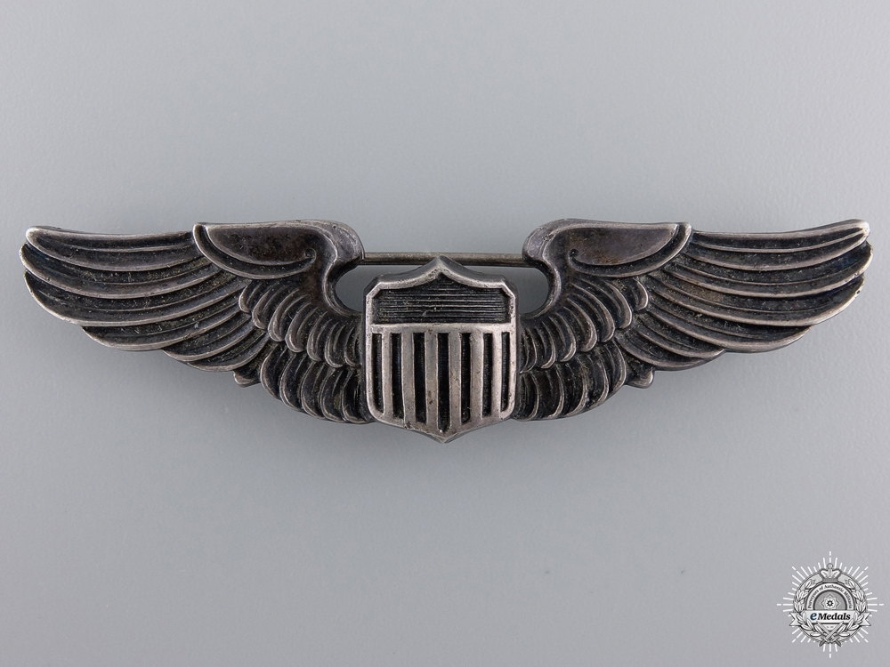 A Second War American Army Air Force Pilot Badge by Amico