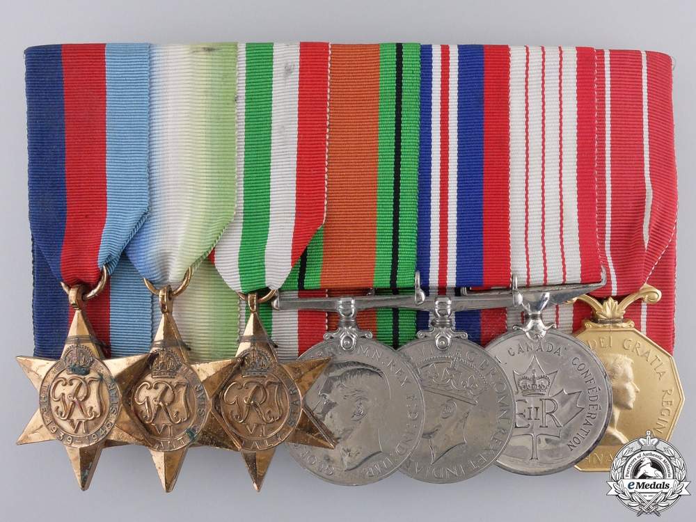 A Second War Canadian Confederation & Forces Decoration Medal Bar