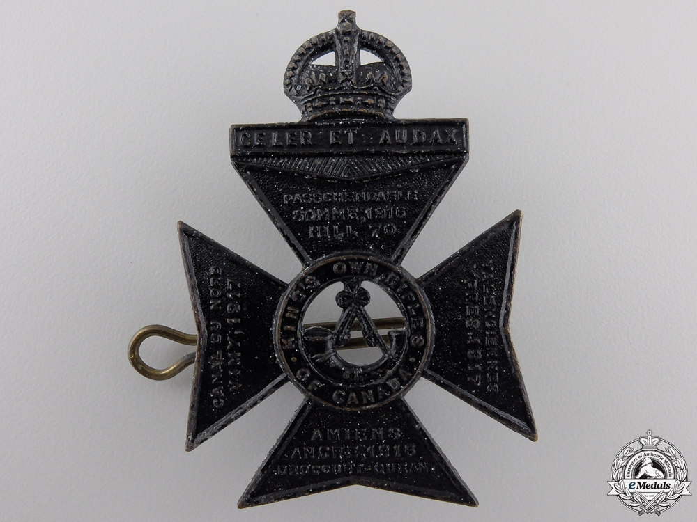 A Second War King's Own Rifles of Canada Cap Badge