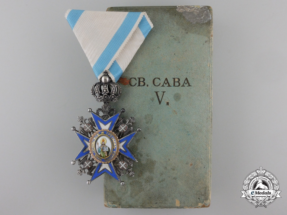 A Serbian Order of St. Sava; 5th Class Knight with Case