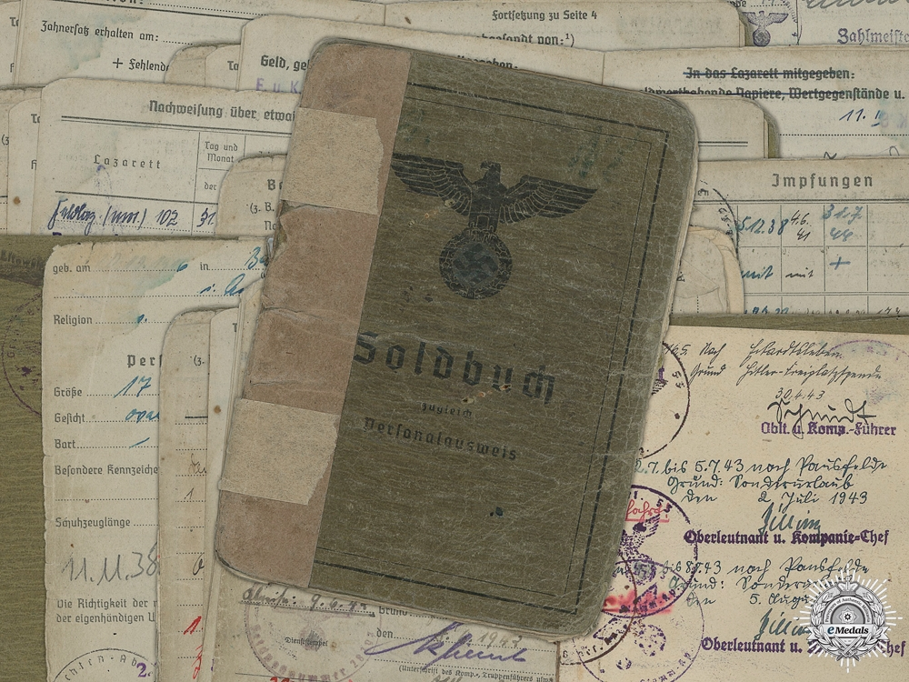 A Soldbuch to the 14th Signals Battalion; 3 Wounds