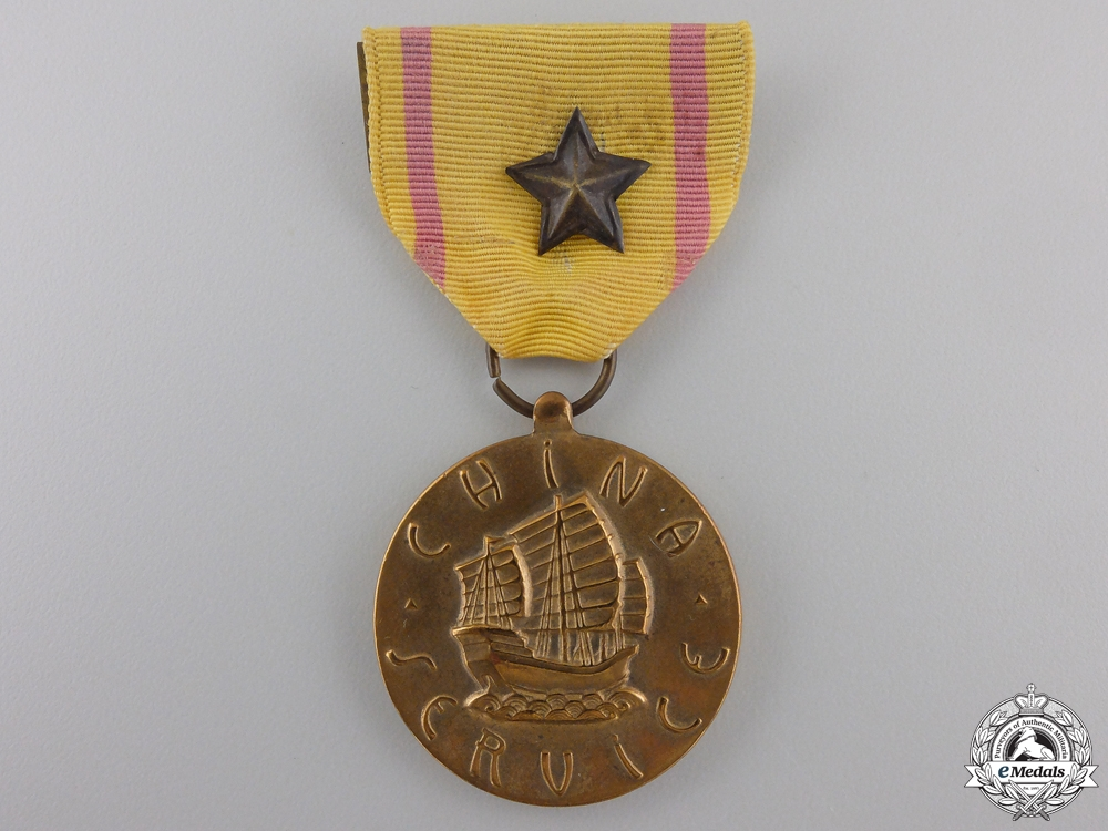 An American China Service Medal; Marine Corps Issue