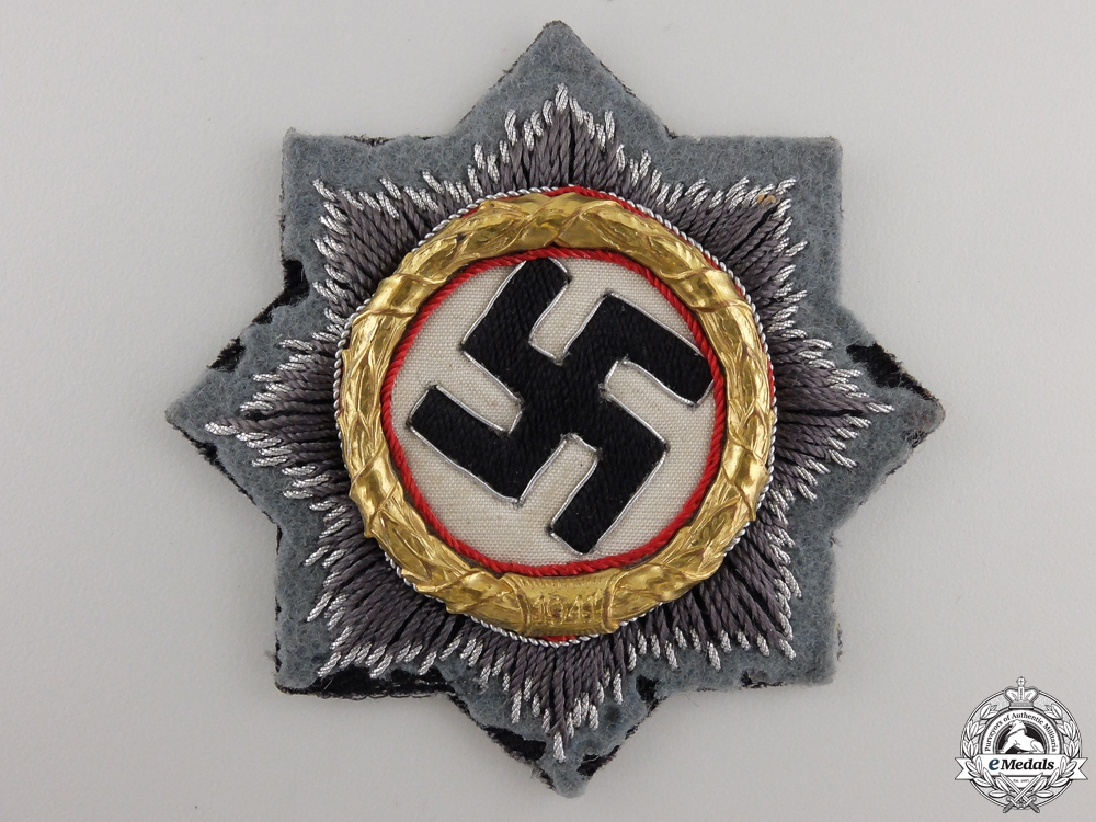 An Army Issued German Cross in Gold; Cloth Version