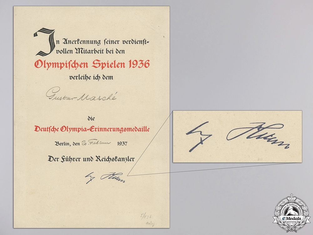 An Award Document for the 1936 Olympic Medal