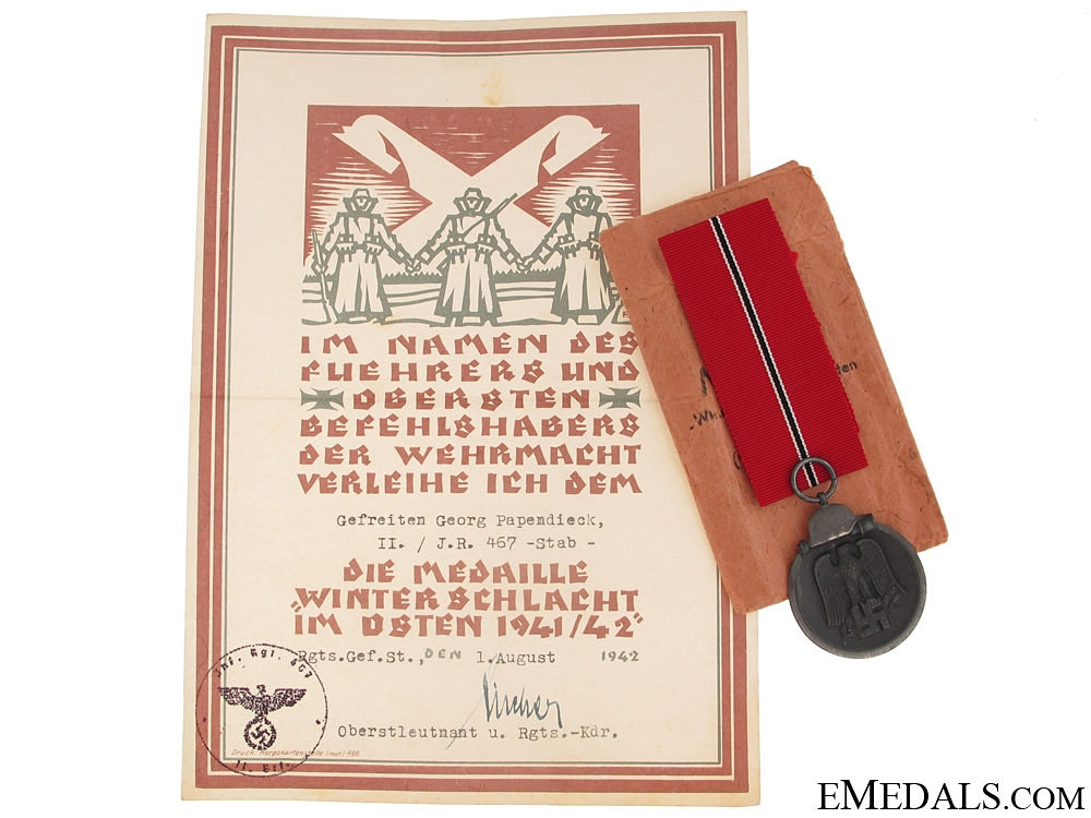 An East Medal to Private Georg Papendieck