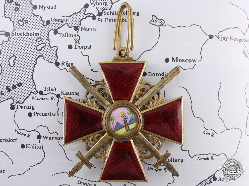 An Imperial Russian Order of St. Anne with Swords; 2nd Class c. 1917