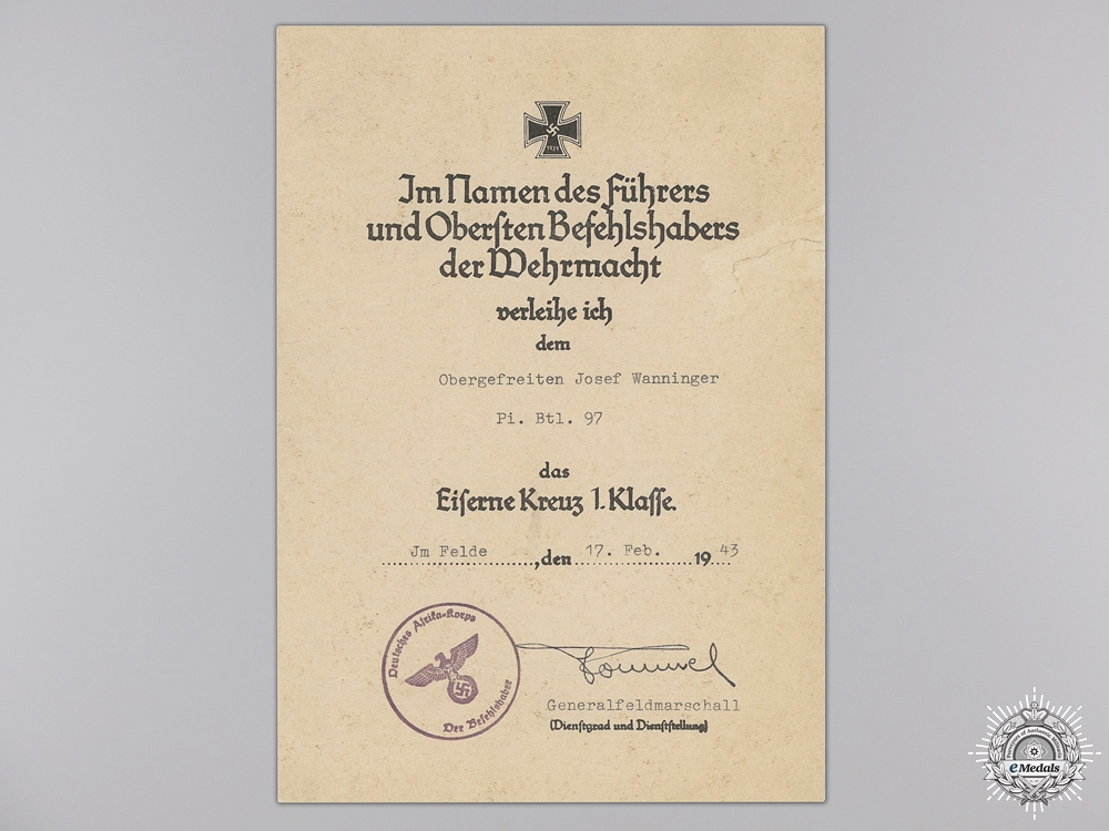 An Iron Cross 2nd Class Award Document to Pioneer Battalion 97   Consignment 28