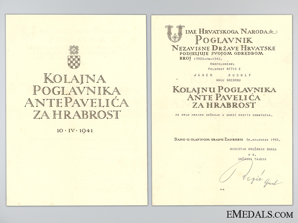 Award Document for Silver Bravery Medal for Anti-Partisan Action
