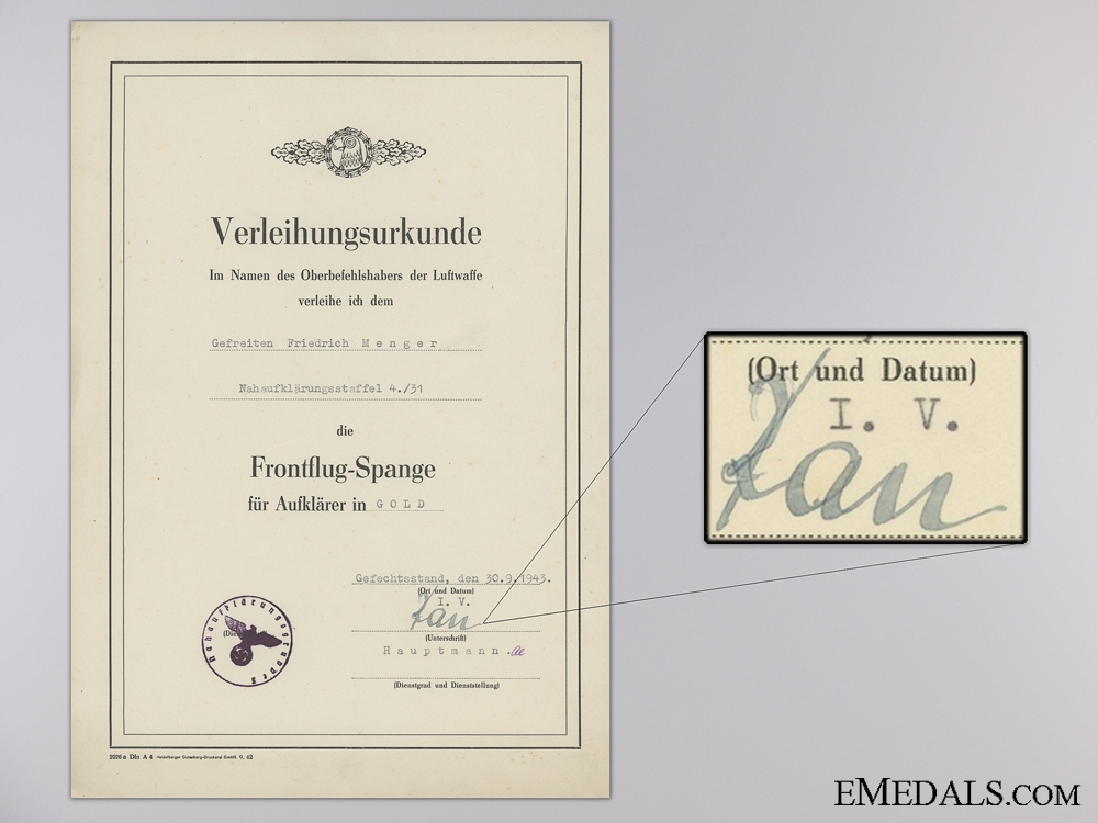 Award Document for Reconnaissance Clasp in Gold; 110 Missions