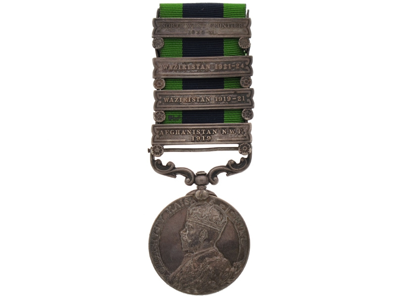 India General Service Medal 1908-35, with 4 clasps